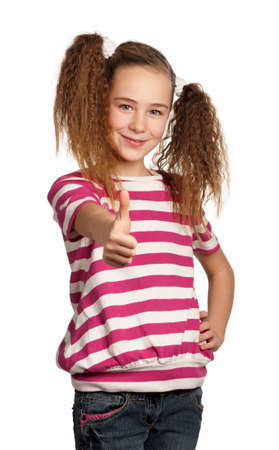 Portrait of girl giving you thumb up isolated on white background Stock Photo