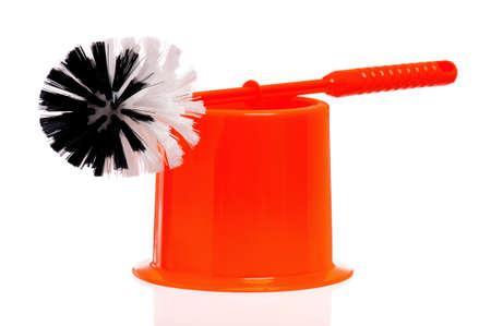 Plastic orange toilet brush isolated on white background Stock Photo - 16384267