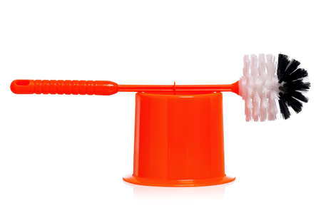 Plastic orange toilet brush isolated on white background Stock Photo - 17243546