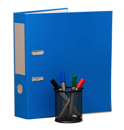 Big blue folder and markers, isolated on white background photo