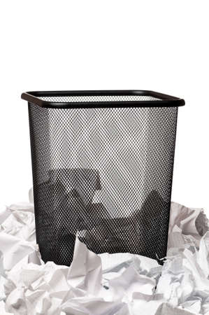 Garbage bin with paper waste isolated on white background Stock Photo - 17579413