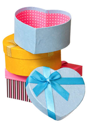 Gift boxes with ribbon isolated on white background Stock Photo - 17579406