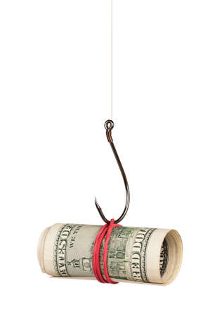fishhook: Fish hook with dollars isolated on white background