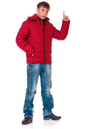Full length portrait of a young man dressed with winter clothes isolated on white background Stock Photo - 17571589