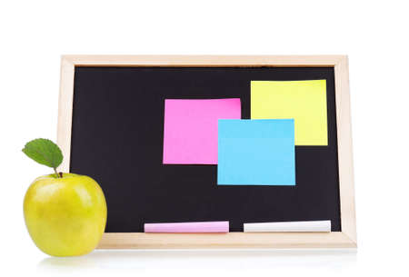 Small wooden blank blackboard isolated on white background photo