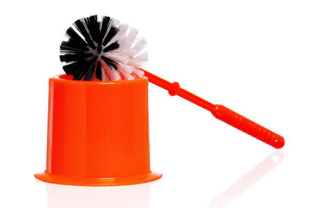 Plastic orange toilet brush isolated on white background Stock Photo - 17579238
