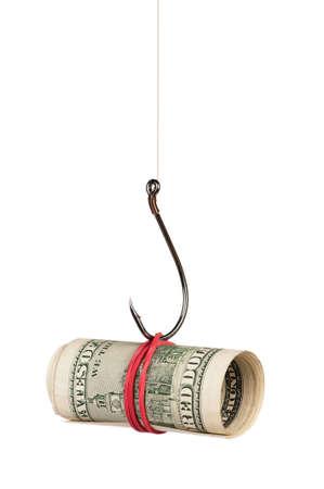 Fish hook with dollars isolated on white background photo