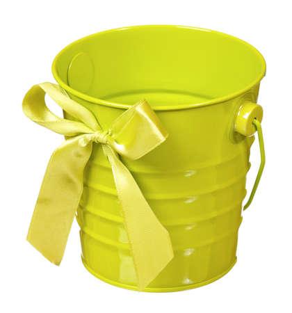 Small empty bucket isolated on white background photo