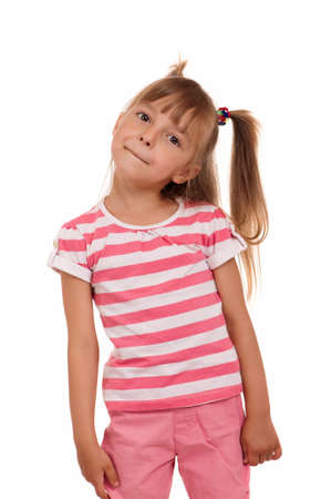 Portrait of emotionally kid. Funny little girl isolated on white background. Beautiful caucasian model. photo