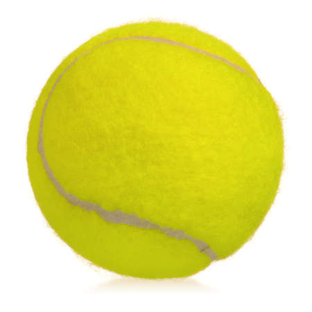 Single tennis ball isolated on white background photo
