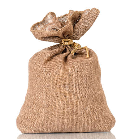Full small sack, isolated on white background Stock Photo - 18657460