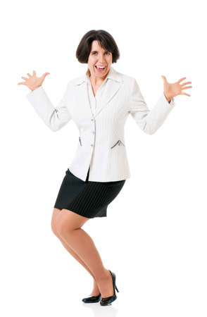 crazy woman: Cheerful successful business woman in suit, isolated white background
