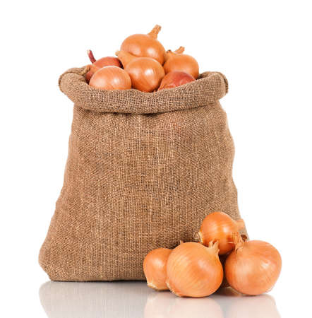 Onions in burlap sack, isolated on white background photo