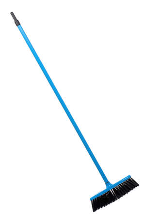 Blue plastic broom, isolated on white background Stock Photo