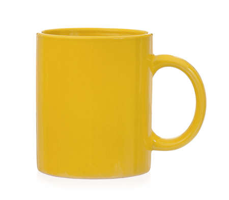 Yellow mug for coffee or tea, isolated on white background