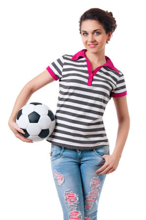 Beautiful girl with classic soccer ball, isolated on white background photo