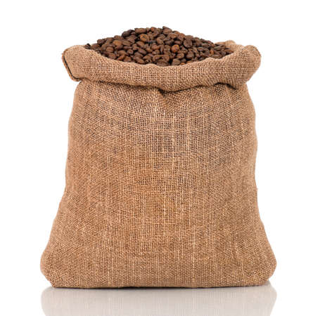 Coffee beans in burlap sack, isolated on white background