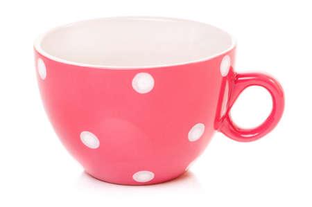 mugged: Empty big mug polka dot, isolated on white background Stock Photo