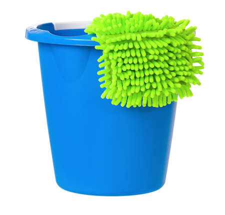 drudgery: Plastic bucket with cleaning duster, isolated on white background