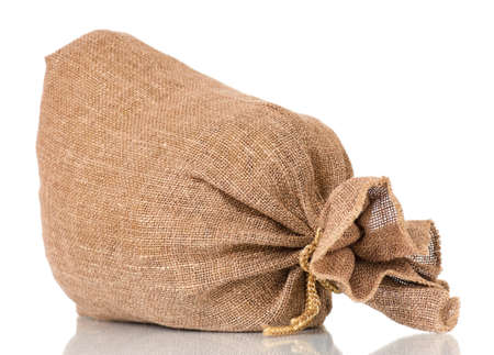 Full small burlap sack, isolated on white background photo