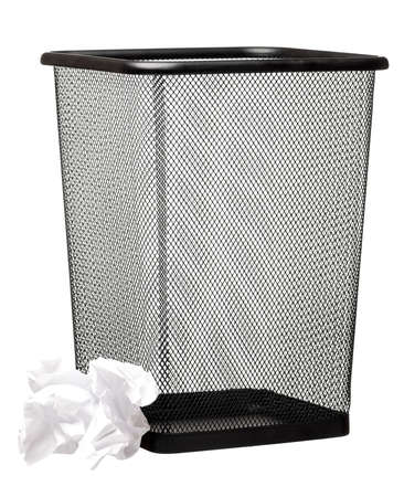 wastepaper: Garbage bin with paper waste isolated on white background Stock Photo