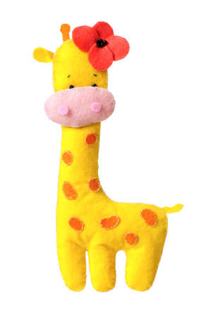 Cute toy giraffe - handmade, isolated on white background photo
