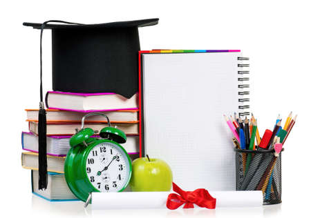 graduation countdown: Back to school concept - school accessories  Isolated on white background  Stock Photo
