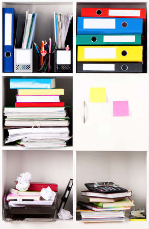 File folders, standing on the shelves at office photo