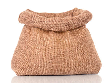 Opened small sack, isolated on white background photo