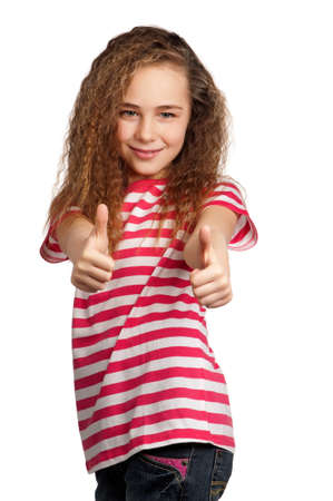 Portrait of girl giving you thumbs up isolated on white background photo