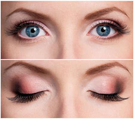 maquillage yeux: Gros plan de belle femme yeux bleus