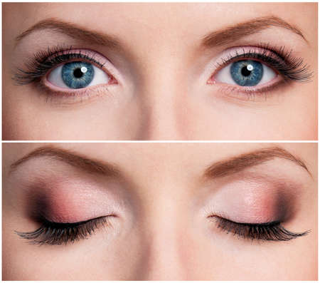 close up eye: Primo piano di bella donna occhi azzurri Archivio Fotografico