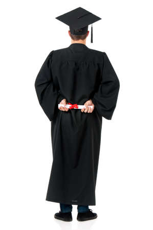 cap and gown: Back mantle graduate student with diploma, isolated on white background