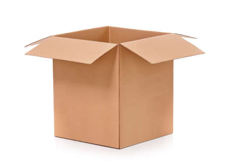 Simple brown carton box, isolated on white background photo
