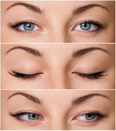 美しい女性灰色の目のクローズ アップ