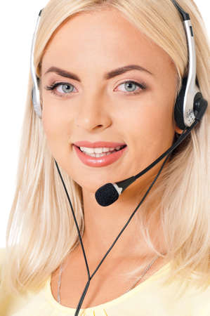Woman customer service worker, call center operator with phone headset, isolated on white background photo
