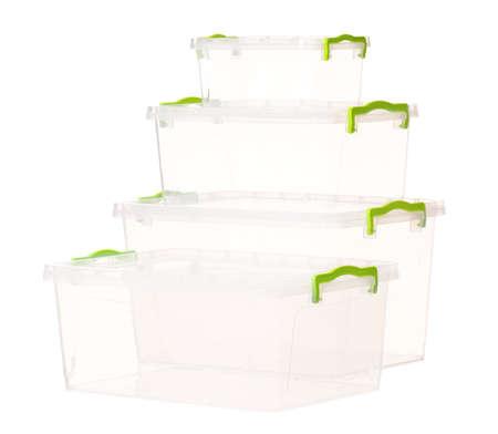 aliments: R�cipient en plastique pour produits alimentaires, isol� sur fond blanc