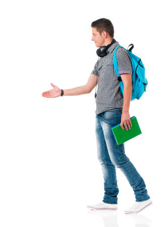 Happy boy student with backpack, isolated on white background photo