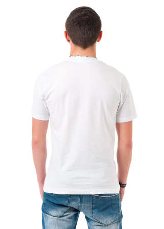 Back white T-shirt on a young man, isolated on white background photo