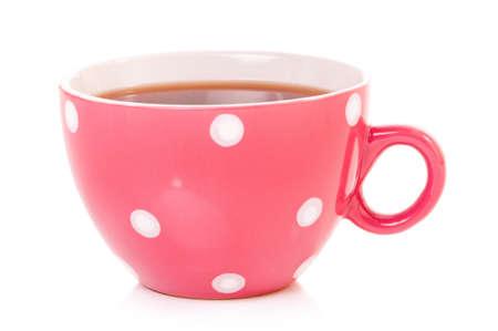mugged: Big mug polka dot of tea, isolated on white background