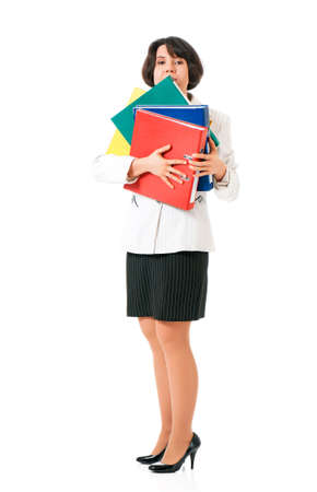 Tired business woman or teacher in suit with folders, isolated white background photo
