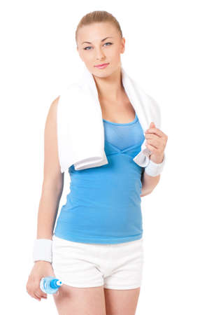 Young woman after workout, isolated on white background photo