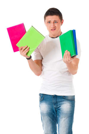 Happy boy student with books, isolated on white background photo