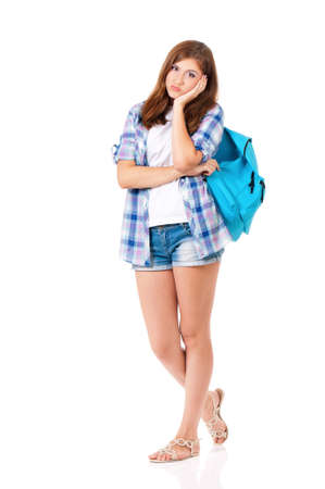 Beautiful student girl with backpack, isolated on white background Stock Photo