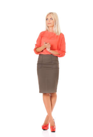 Full body portrait of young business woman, isolated on white background  photo