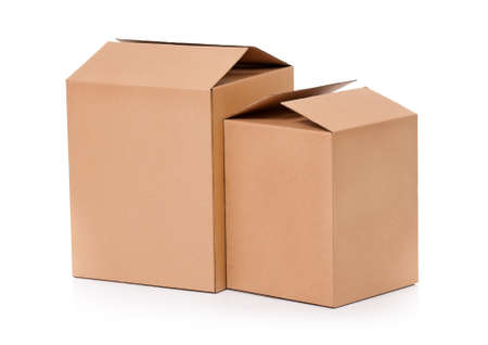 Simple brown carton boxes, isolated on white background photo