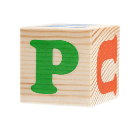 Wooden block with letter P, isolated on white background photo