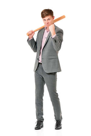 hoodlum: Anger man in suit with wooden baseball bat, isolated on white background