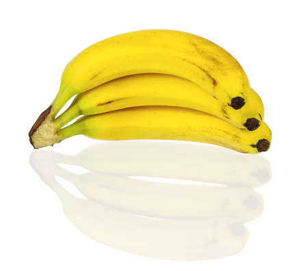 bad banana: Bunch of ripe bananas isolated on white background