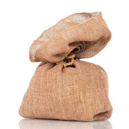 Full small sack, isolated on white background photo